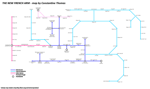 Subway Map of the French Arm and Alien Space