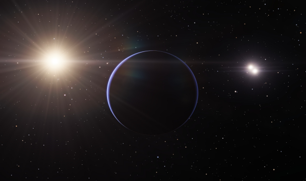 Gas Giant orbiting a triple G V system (created in Space Engine)