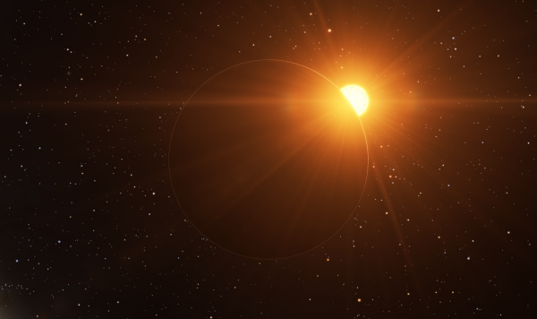 Sunrise on a new world (created in Space Engine)
